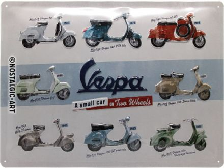 Vespa Scooter Models - 3D  Metal Wall Sign